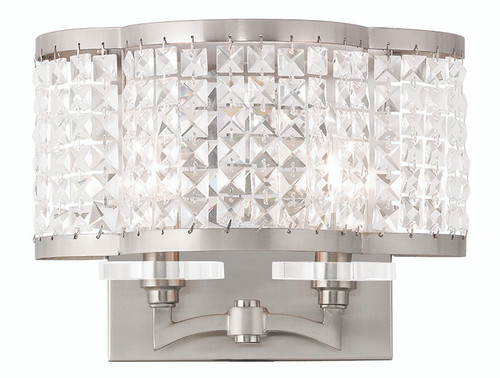 LIVEX Lighting 50568-91 Grammercy Wall Sconce in Brushed Nickel (2 Light)