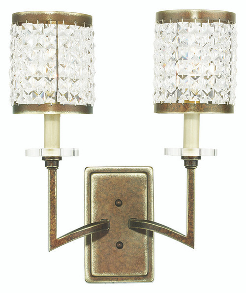 LIVEX Lighting 50572-64 Grammercy Wall Sconce with Hand-Painted Palacial Bronze (2 Light)