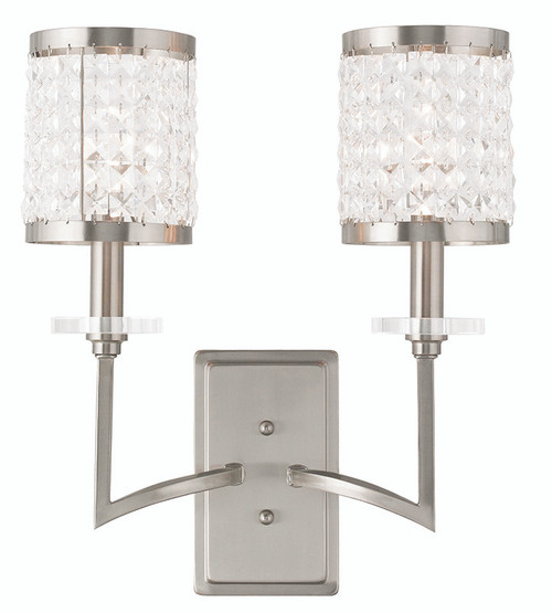 LIVEX Lighting 50572-91 Grammercy Wall Sconce in Brushed Nickel (2 Light)