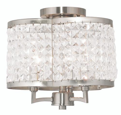 LIVEX Lighting 50573-91 Grammercy Flushmount in Brushed Nickel (3 Light)