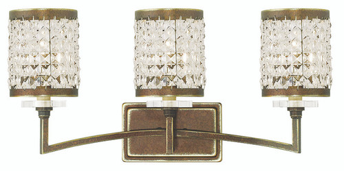 LIVEX Lighting 50563-64 Grammercy Bath Light with Hand-Painted Palacial Bronze (3 Light)