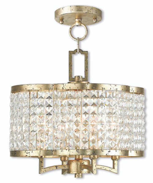 LIVEX Lighting 50574-28 Grammercy Convertible Mini Chandelier/Flushmount with Hand-Applied Winter Gold (4 Light)