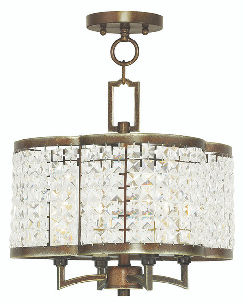 LIVEX Lighting 50574-64 Grammercy Convertible Mini Chandelier/Flushmount with Hand-Painted Palacial Bronze (4 Light)