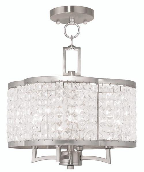 LIVEX Lighting 50574-91 Grammercy Convertible Mini Chandelier/Flushmount in Brushed Nickel (4 Light)