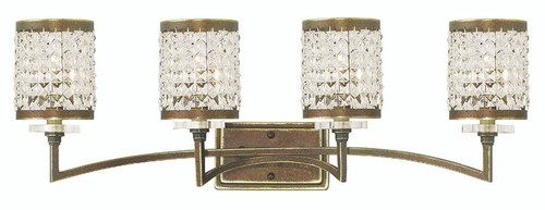 LIVEX Lighting 50564-64 Grammercy Bath Light with Hand-Painted Palacial Bronze (4 Light)