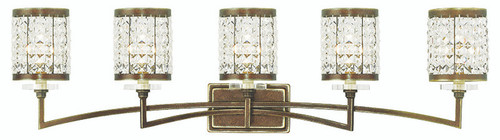LIVEX Lighting 50565-64 Grammercy Bath Light with Hand-Painted Palacial Bronze (5 Light)