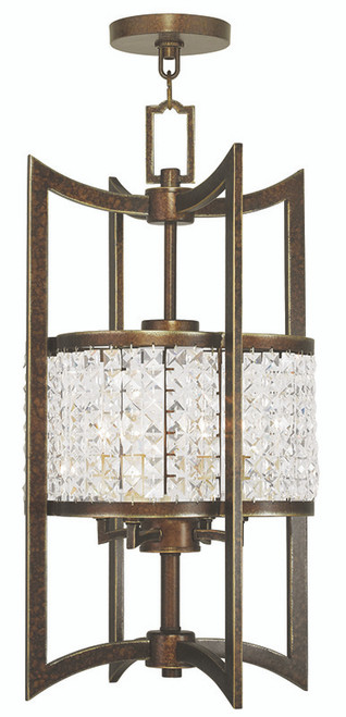 LIVEX Lighting 50566-64 Grammercy Lantern with Hand-Painted Palacial Bronze (4 Light)