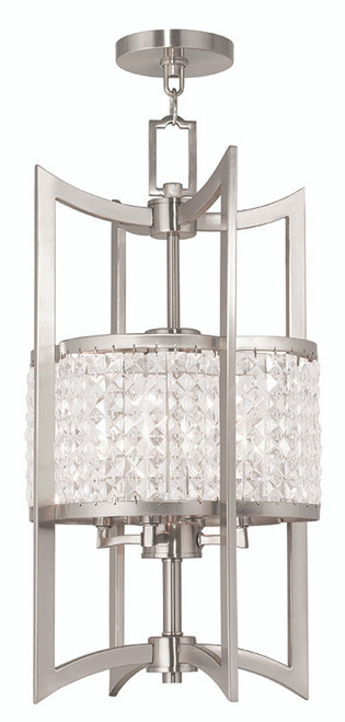 LIVEX Lighting 50566-91 Grammercy Lantern in Brushed Nickel (4 Light)