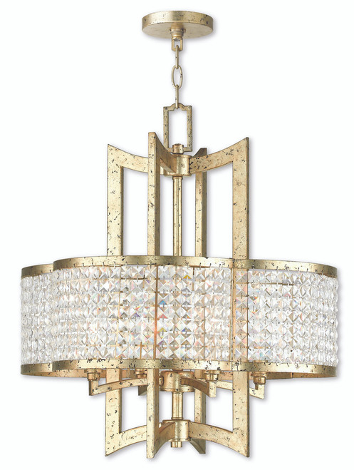 LIVEX Lighting 50575-28 Grammercy Chandelier with Hand-Applied Winter Gold (4 Light)