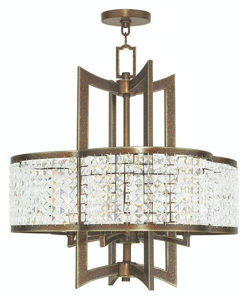 LIVEX Lighting 50575-64 Grammercy Chandelier with Hand-Painted Palacial Bronze (4 Light)