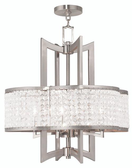 LIVEX Lighting 50575-91 Grammercy Chandelier in Brushed Nickel (4 Light)