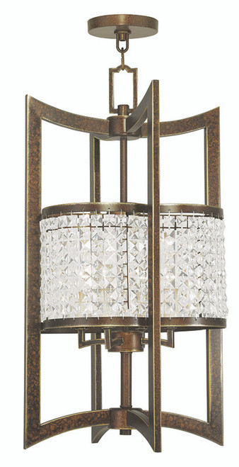 LIVEX Lighting 50567-64 Grammercy Lantern with Hand-Painted Palacial Bronze (4 Light)
