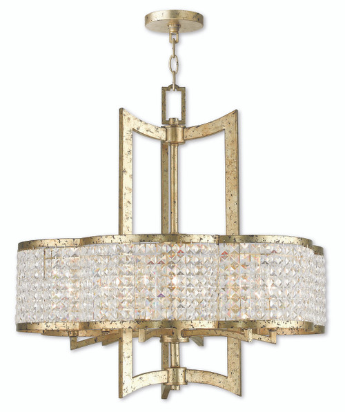LIVEX Lighting 50576-28 Grammercy Chandelier with Hand-Applied Winter Gold (6 Light)