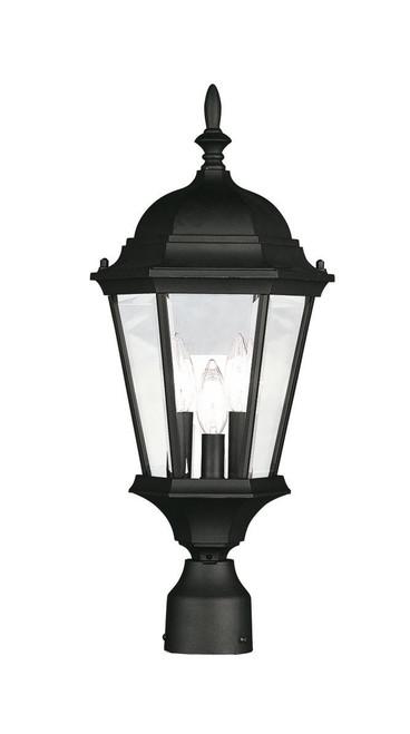 LIVEX Lighting 7563-04 Hamilton Outdoor Post Lantern in Black (3 Light)
