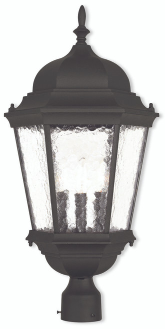 LIVEX Lighting 75474-14 Hamilton Outdoor Post Lantern in Textured Black (3 Light)