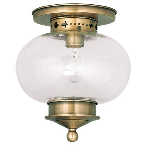 LIVEX Lighting 5036-01 Harbor Flushmount in Antique Brass (1 Light)