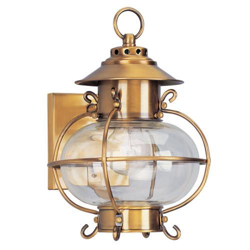 LIVEX Lighting 2221-22 Harbor Outdoor Wall Lantern in Flemish Brass (1 Light)