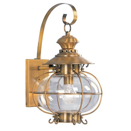 LIVEX Lighting 2222-22 Harbor Outdoor Wall Lantern in Flemish Brass (1 Light)