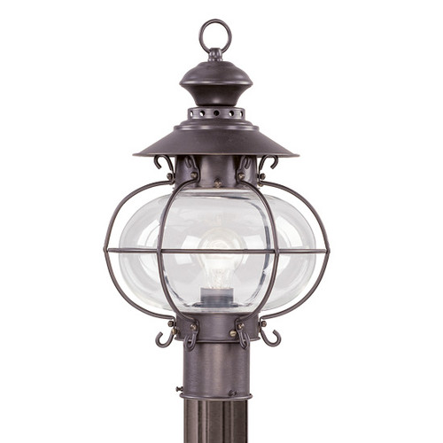 LIVEX Lighting 2224-07 Harbor Outdoor Post Lantern in Bronze (1 Light)
