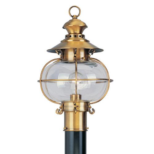 LIVEX Lighting 2224-22 Harbor Outdoor Post Lantern in Flemish Brass (1 Light)