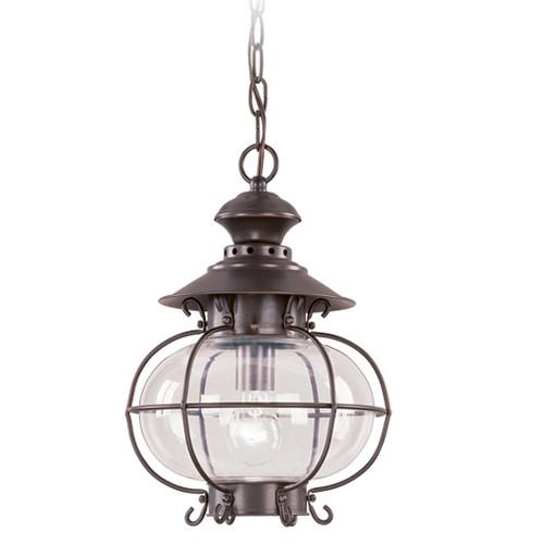 LIVEX Lighting 2225-07 Harbor Outdoor Chain Lantern in Bronze (1 Light)