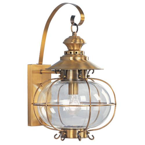 LIVEX Lighting 2223-22 Harbor Outdoor Wall Lantern in Flemish Brass (1 Light)