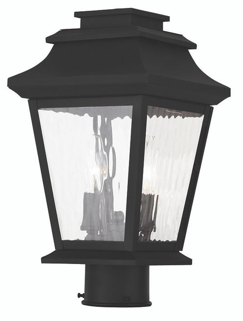 LIVEX Lighting 20234-04 Hathaway Outdoor Post Lantern in Black (2 Light)