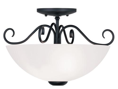 LIVEX Lighting 4461-04 Heritage Flushmount in Black (2 Light)