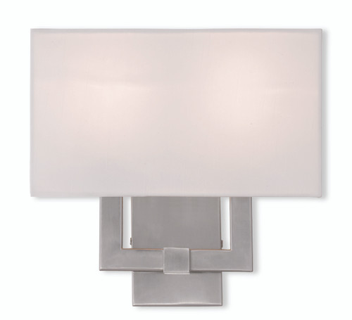 LIVEX Lighting 51103-91 Hollborn Contemporary Wall Sconce in Brushed Nickel (2 Light)