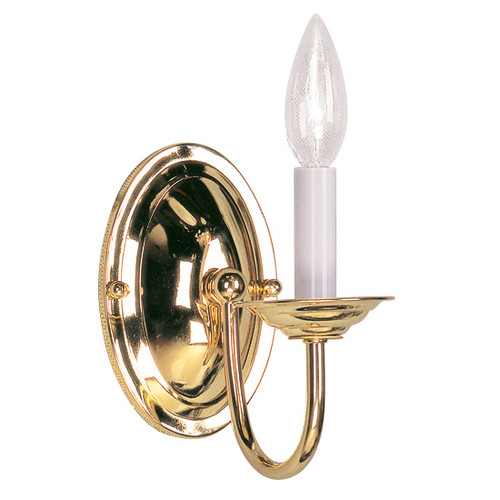 LIVEX Lighting 4151-02 Home Basics Wall Sconce in Polished Brass (1 Light)