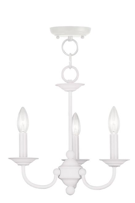 LIVEX Lighting 4153-03 Home Basics Mini Chandelier in White (3 Light)