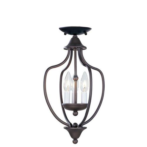 LIVEX Lighting 4170-07 Home Basics Convertible Chain Hung/Flushmount in Bronze (3 Light)