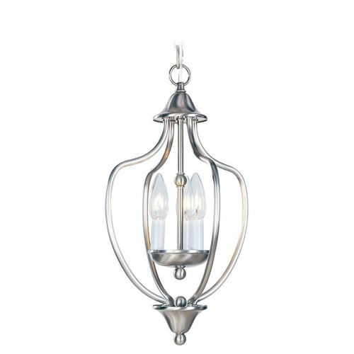 LIVEX Lighting 4170-91 Home Basics Convertible Chain Hung/Flushmount in Brushed Nickel (3 Light)