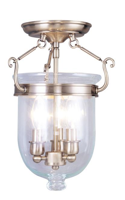 LIVEX Lighting 5061-01 Jefferson Flushmount in Antique Brass (3 Light)