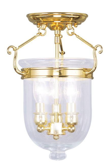 LIVEX Lighting 5061-02 Jefferson Flushmount in Polished Brass (3 Light)