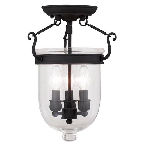 LIVEX Lighting 5061-04 Jefferson Flushmount in Black (3 Light)