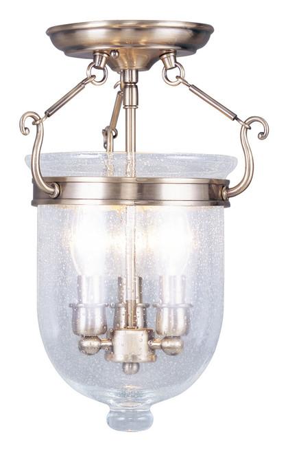 LIVEX Lighting 5081-01 Jefferson Flushmount in Antique Brass (3 Light)