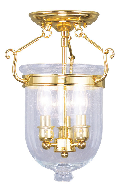 LIVEX Lighting 5081-02 Jefferson Flushmount in Polished Brass (3 Light)