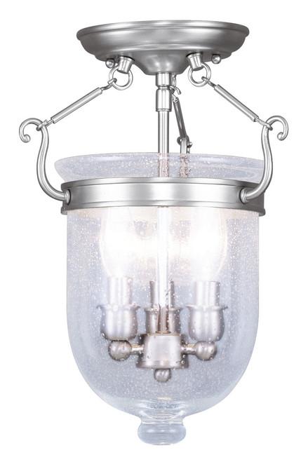 LIVEX Lighting 5081-91 Jefferson Flushmount in Brushed Nickel (3 Light)