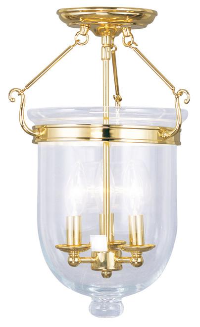 LIVEX Lighting 5062-02 Jefferson Flushmount in Polished Brass (3 Light)