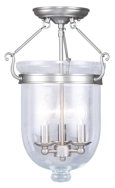 LIVEX Lighting 5062-91 Jefferson Flushmount in Brushed Nickel (3 Light)