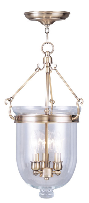 LIVEX Lighting 5063-01 Jefferson Chain Lantern in Antique Brass (3 Light)