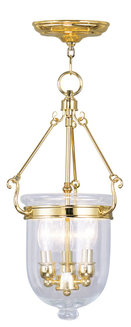 LIVEX Lighting 5063-02 Jefferson Chain Lantern in Polished Brass (3 Light)