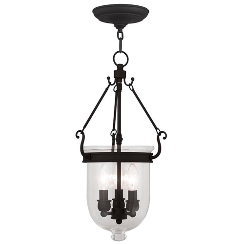 LIVEX Lighting 5063-04 Jefferson Chain Lantern in Black (3 Light)