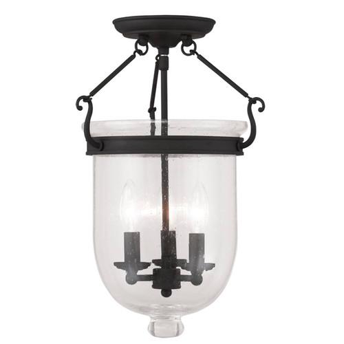 LIVEX Lighting 5082-04 Jefferson Flushmount in Black (3 Light)