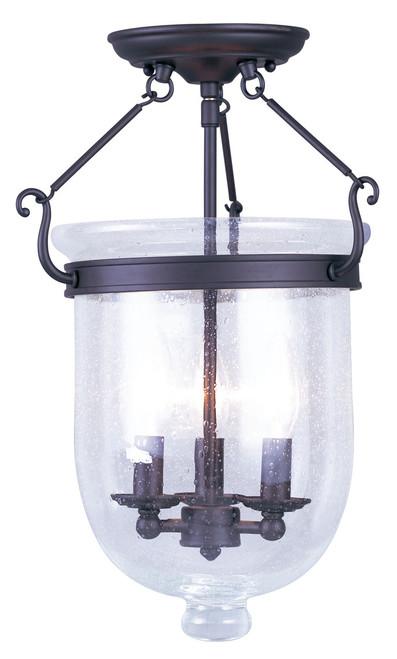 LIVEX Lighting 5082-07 Jefferson Flushmount in Bronze (3 Light)