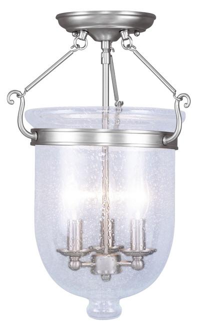 LIVEX Lighting 5082-91 Jefferson Flushmount in Brushed Nickel (3 Light)