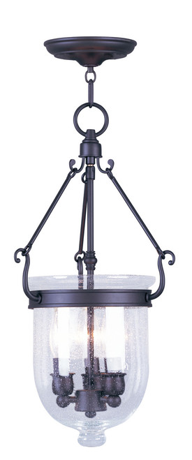 LIVEX Lighting 5083-07 Jefferson Chain Lantern in Bronze (3 Light)
