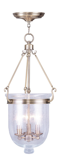 LIVEX Lighting 5084-01 Jefferson Chain Lantern in Antique Brass (3 Light)