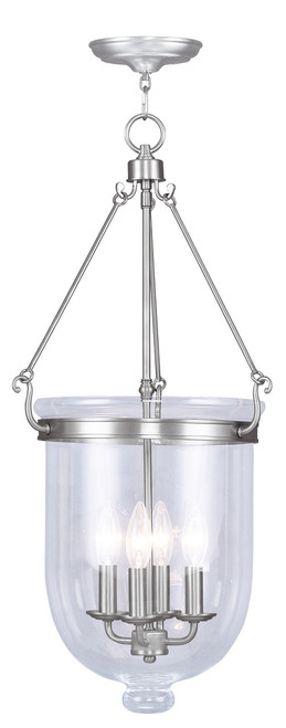 LIVEX Lighting 5065-91 Jefferson Chain Lantern in Brushed Nickel (4 Light)